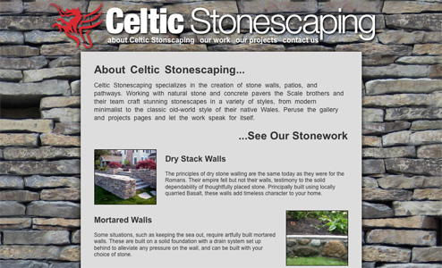 celticstonescaping.com - budget conscious work portfolio wesite with search engine optimization as focus