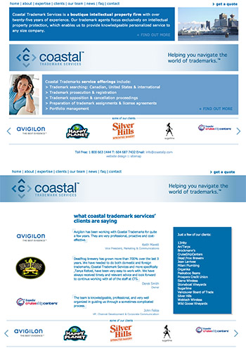 coastalip.com - programmed for Creating Excellence - search engine optimization (SEO), Wordpress CMS with custom template and automated tasks