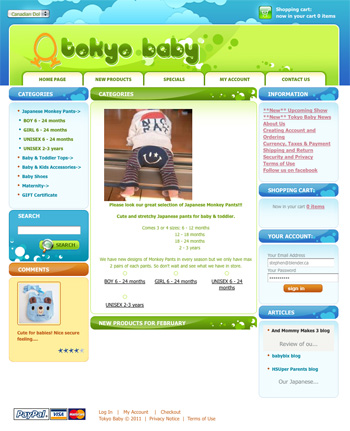 tokyobaby.ca - Customized template based on the CRE Loaded shopping cart system