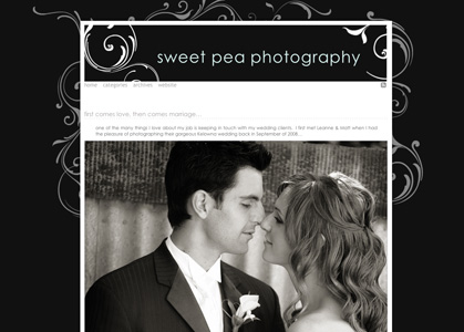 sweetpeaphotography.com - Worpress photo blog with custom template featuring Flash animated accents