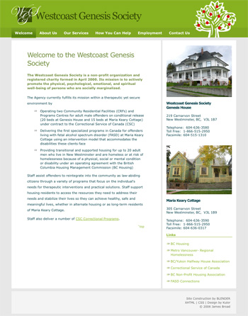 westcoastgenesissociety.ca - Highly customized template for a budget concious non-profit society