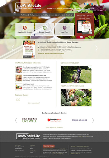 mywholelife.ca - as part of Kennedy Anderson Creative Group, custom WordPress theme