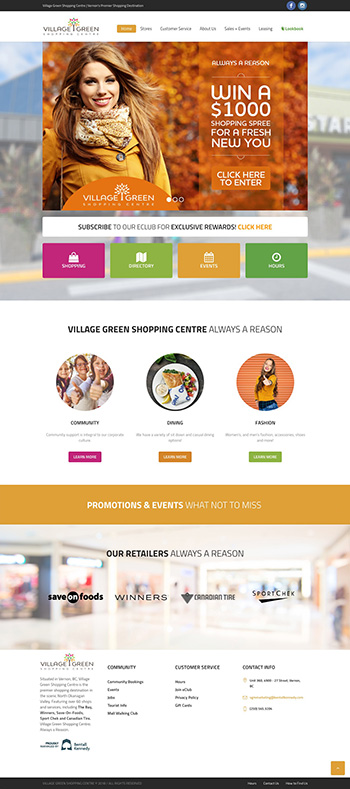 villagegreencentre.ca - with CreativeExcellence, adapted template focusing on mobility and search engine optimization (SEO)