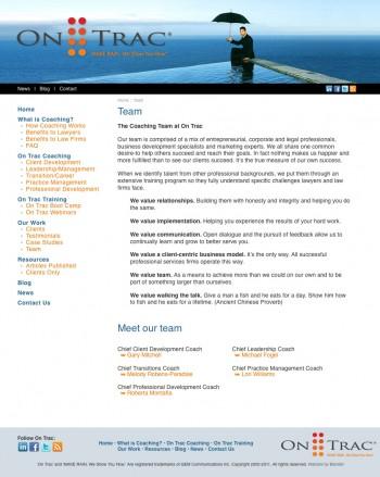 website design - OnTrac Coaching